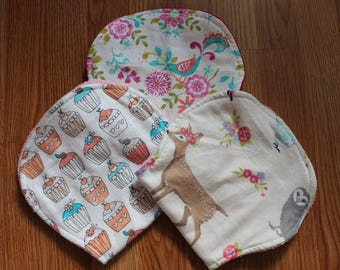 Paisley||Sparrow||Cupcakes||Fawn||Deer||Owl||Fox||Woodland Creatures||Floral||Flowers||Girl Burp Cloth||Burp Cloth||Flannel Burp Cloth