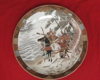 Antique Japanese Kutani Meiji Large Plate Charger Handpainted Samurai Horse