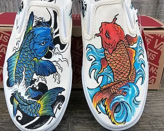 Japanese Koi Fish with tribal design vans slip on hand painted custom shoes