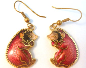 Vintage Cloisonne Enamel Hedgehog Drop Earrings.