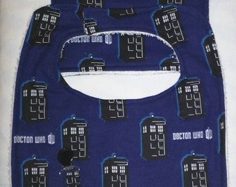 3 Piece Dr. Who Baby Set...Bib, Burping Cloth, and Pacifier Clip