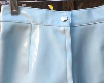 Vintage INSPIRED Baby Blue PVC Pencil Mini Skirt