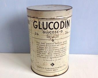 Vintage Tin Glucodin Food Chemist Apothecary Medical