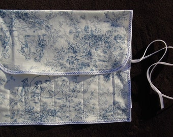 Hand Made Knitting Needle Case - Toile de Jouy design,  Blue with white edging