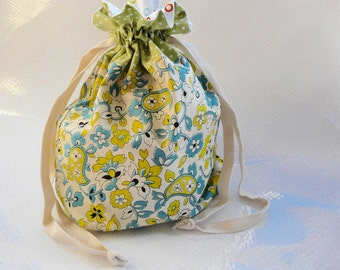 Retro Effect Drawstring Bag / Gift Bag / Paisley / Spots / Polka Dots / Green / Circles / Knitting Bag / Crochet Bag / Project Bag