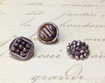 3 Small Steel cut Antique Picture Metal Buttons 14 mm