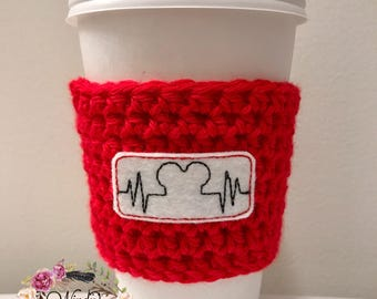 "The ""Mouse Heartbeat"" Cozie / Coffee Cozie / Tea Cozie / Tumbler Cozie / Crochet Cozie"