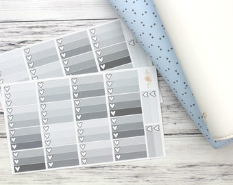 Heart Ombre Checklist - Half Box - Planner Stickers - Shades of GREY - Matte