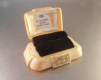 Art Deco Celluloid Ring Box, W. Matejka Jeweler, Oregon, Ivory Color