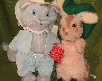 Vintage BEATRIX POTTER ~ Tom Kitten and Benjamin Bunny ~ Pair of Plush Stuffed Toys by EDEN