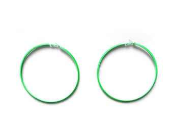 80s Oversized Neon Green Hoop Earrings / Large Bright Colorful Geometric Jewelry