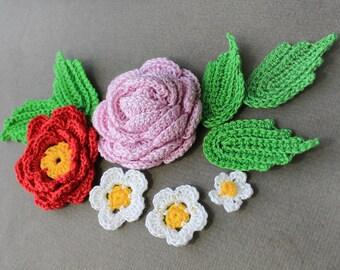 Crochet Flowers Applique, Crochet Flowers Applique 10 pcs, Crocheted Flowers, Flowers Crochet, Crochet Applique, Handmade Applique Flowers