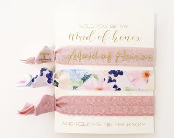 YOU DESIGN | Bridesmaid Proposal Hair Tie Gifts, Gold + Blush Pink Floral Bridal Party Proposal Gift, Maid of Honor Bridesmaid Hair Tie Sets
