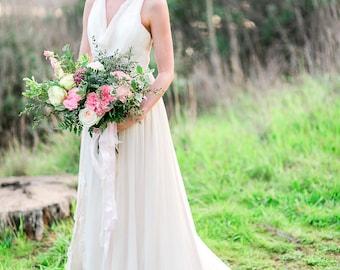 Golden bridal dresses, beach wedding dress, bridal gown, silk chiffon, lace, sexy back, low back for destination beach weddings