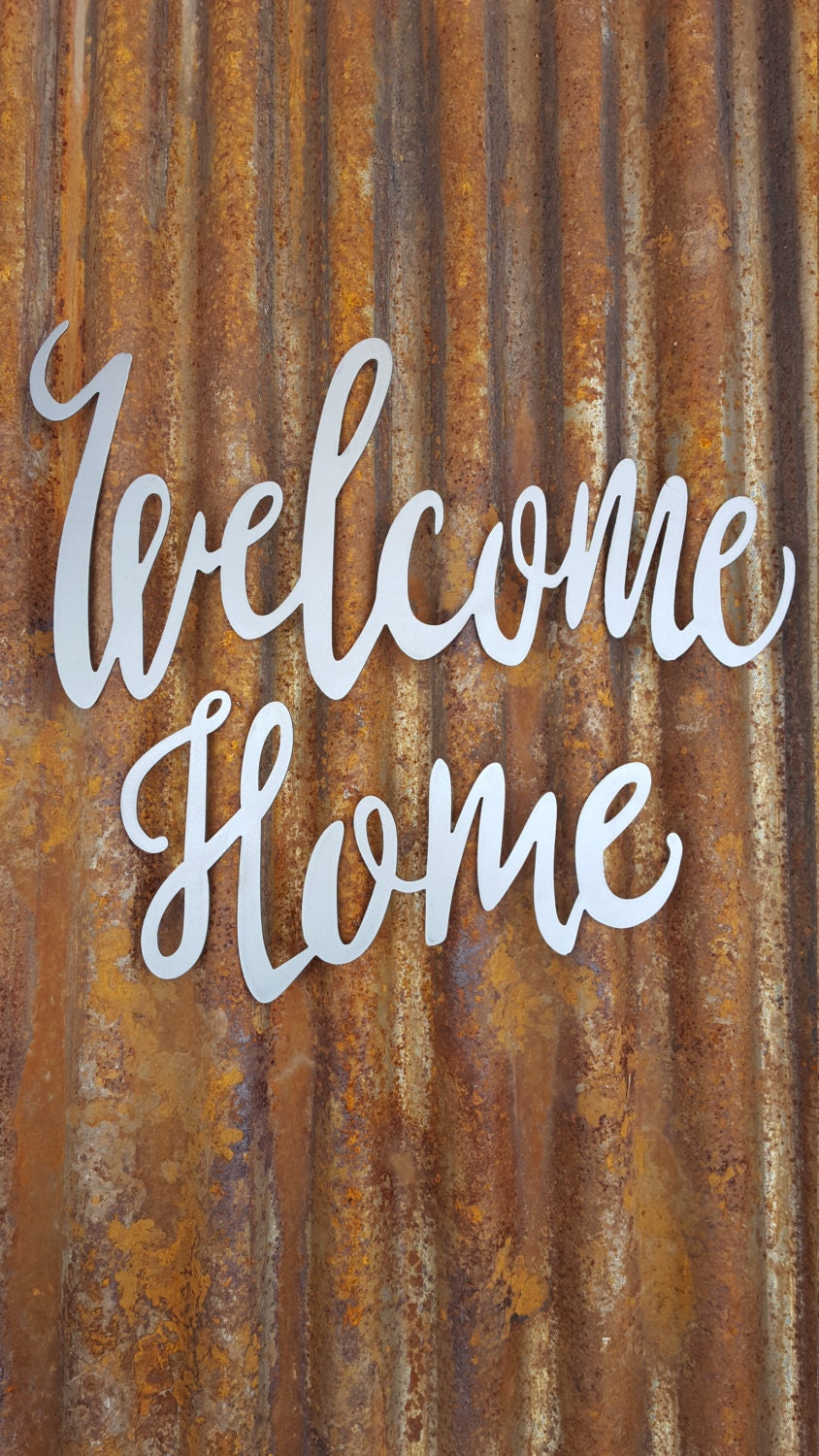 welcome sign word sign metal calligraphy sign farmhouse decor