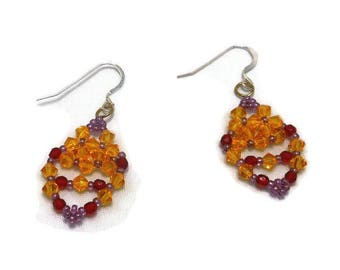 Hand Made Crystal Sunflower And Red Women's Earrings