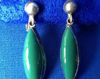 Mexican Silver & Jade Screw-back Earrings