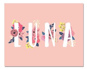 Luna Baby Name Wall Art Luna Baby Name Sign Luna Party Printable Luna Party Decorations Luna Art