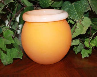 H1 Contemporary Orange Creamsicle Color Round Flower Vase Rose Bowl Easter Spring Decor Heavy Frosted Glass