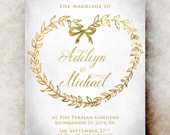 Gold Wedding invitation printable - elegant wedding invitation, calligraphy wedding invitation, wedding invitation set