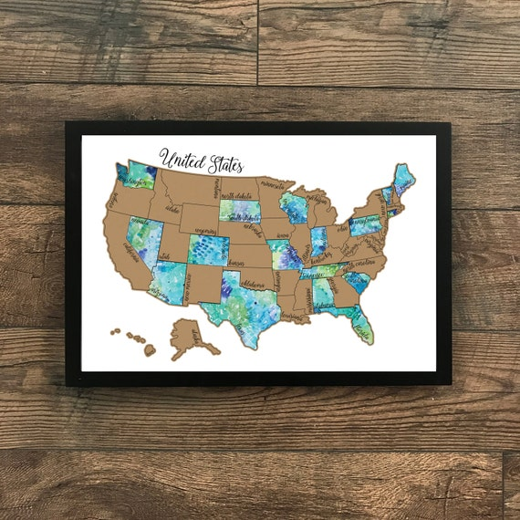 Traveling Blues- United States Watercolor Scratch Off Map