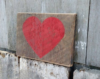 Red heart Valentine sign on salvaged barn wood hand-painted rustic- READY 2 SHIP