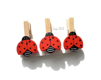Set of 6 wooden Ladybug Clothespin Embellishments, Lady bug Gift Tag - Set of 6 pcs