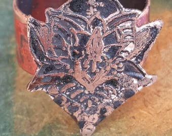 Etched copper Lotus Ring