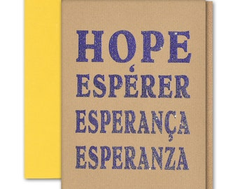 """Hope Letter Greeting Card thermography with metallic Purple glitter ink brown paper 5""""x7"""" folder blank inside / envelope"""
