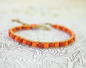 Orange and Red Glass Beaded Bracelet