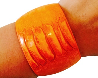 Fitbit Bracelet for Fitbit Flex or Flex 2 Fitness Activity Trackers - The ANITA Bright Orange Snake Skin Cuff Fitbit Bracelet - Ships FREE