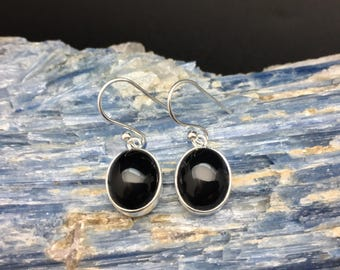 Black Onyx Earrings // 925 Sterling Silver // Oval Black Onyx Earrings