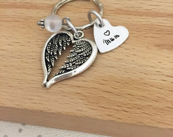 personalised memorial gifts, personalised keyring, angel wings, personalised angel, condolence gift, guardian angel, bereavement gift, loss