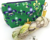 Dyed to Order - King Cake Kit, Mardi Gras Mambo Collaboration: Small Zippered Bag, Hand Dyed Fingering Yarn, Fleur de Lis Stitch Markers