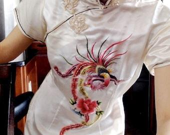 Vintage Chinese Qipao CHEONGSAM Silk Dress