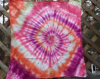 Extra Large Tie Dye Bandana with Purple Red Yellow Orange, Tie Dye Bandanna, Tiedye Bandana, Big Dog Bandana, Hippie Tiedye, Tiedye Napkin