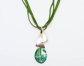 Taxco Silver Jewelry, Tree Agate Necklace, Sterling Silver Jewelry, Leather Necklace, Inner Peace Necklaces, Pendant Necklace, Green Leather