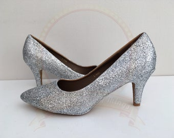Silver Glitter Shoes - Metallic Glitter - Mid Heel - Bridal - Wedding Shoes - Bridesmaid - Prom - Party - Customised Shoes - UK Size 3-8