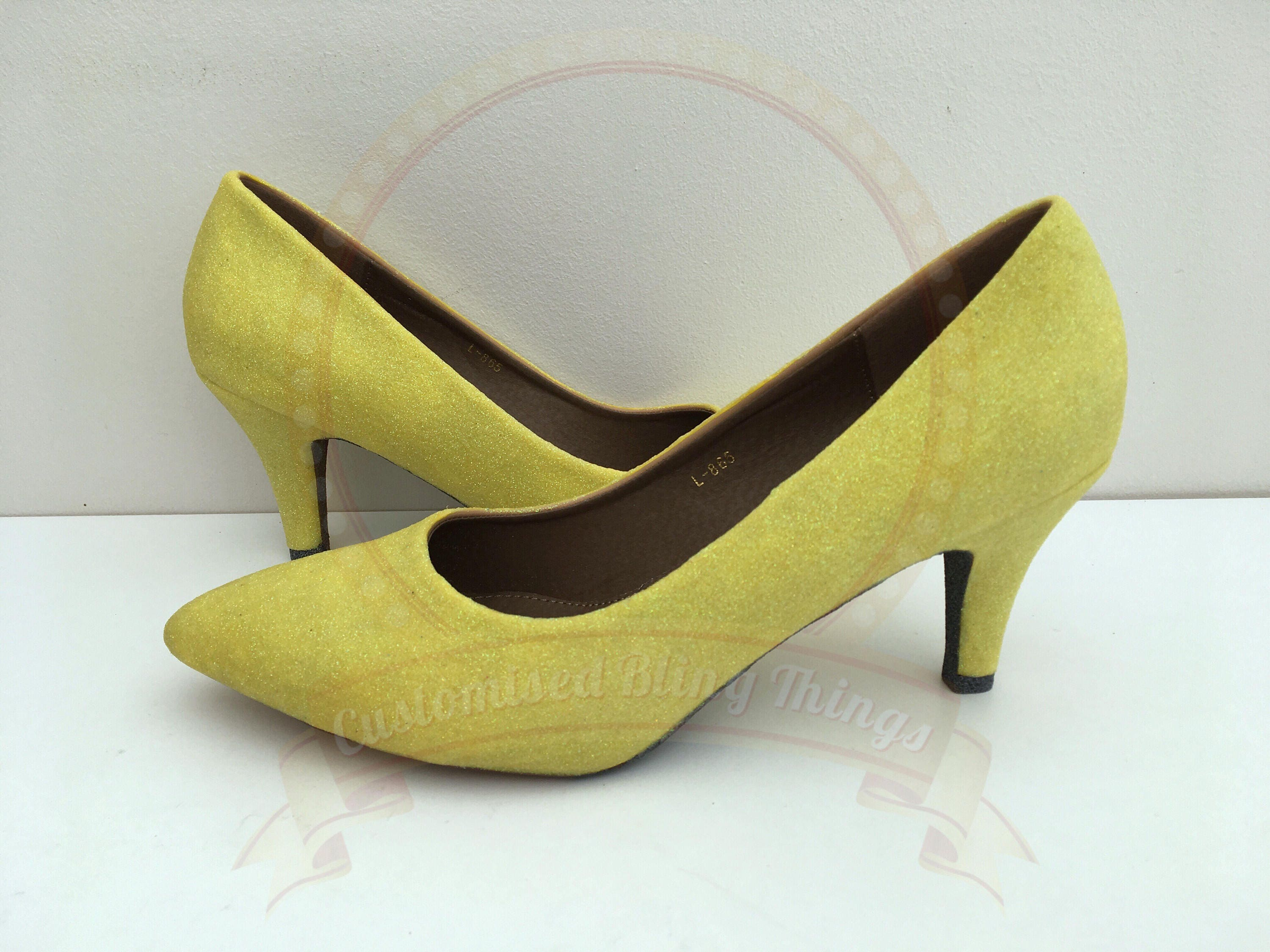 Lemon Yellow Glitter Shoes Grey Undersoles Mid Heel