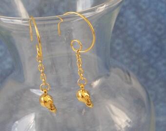 Skull Earrings Gold Skull Earrings Gold Dangle Skull  E73