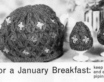 Tea & egg cosies cozies knitting pattern PDF chunky tea cosy egg cosy tea cozy egg cozy breakfast set chunky bulky 12ply instant download