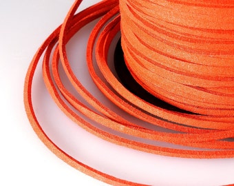 Orange Suede Cord, 3x1mm; Soft Micro Fiber Faux Leather Velvet Suede Flat Lace, Cord, Thread, String, Rope; 100 Yard; Jewelry Making