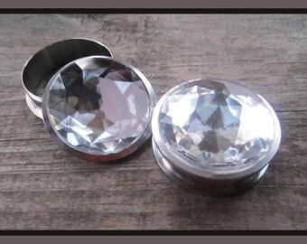 """Brilliant Ice faux Diamond EAR TUNNEL PLUG Earring gauge size - 13/16"""", 11/16"""", 7/8"""", 1"""", 1 1/16"""" 1.18"""" - 20mm, 22mm, 25mm, 28mm, 30mm"""