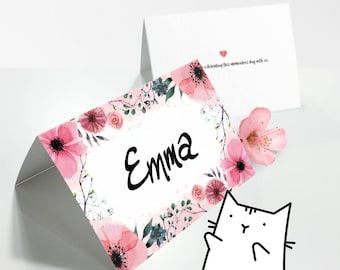 Pink Floral | Garden Theme PLACE CARDS - Bridal Shower | Wedding | Baby Shower [BLANK] [Instant Digital Download]