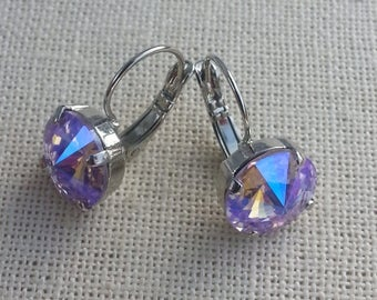 Swarovski 12mm Rivoli Violet Glacier Blue Earrings/ Rhodium Finish/ Casual Earrings/ Dangle Earrings / Crystal Earrings/ / Designer Inspired