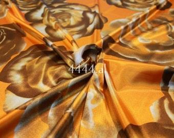 Brown orange floral print stretch satin fabric #4938