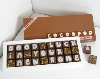 GOOD LUCK in Your New Home chocolate gift - New Home - You've Moved Well Done Chocolates
