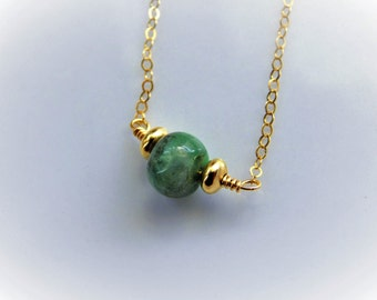 Raw Emerald Necklace - Rough Emerald - Gold Necklace - Drop Necklace - Sterling Silver - May Birthstone Jewelry