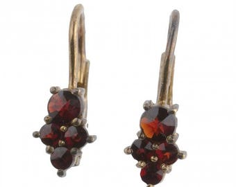 Vintage sterling silver vermeil and garnet lever back pierced earrings. ervs892(e)