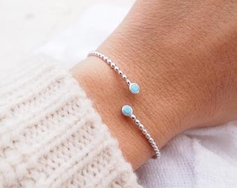 Silver 925 - blue turquoise stone Bangle Bracelet / silver sterling bangle